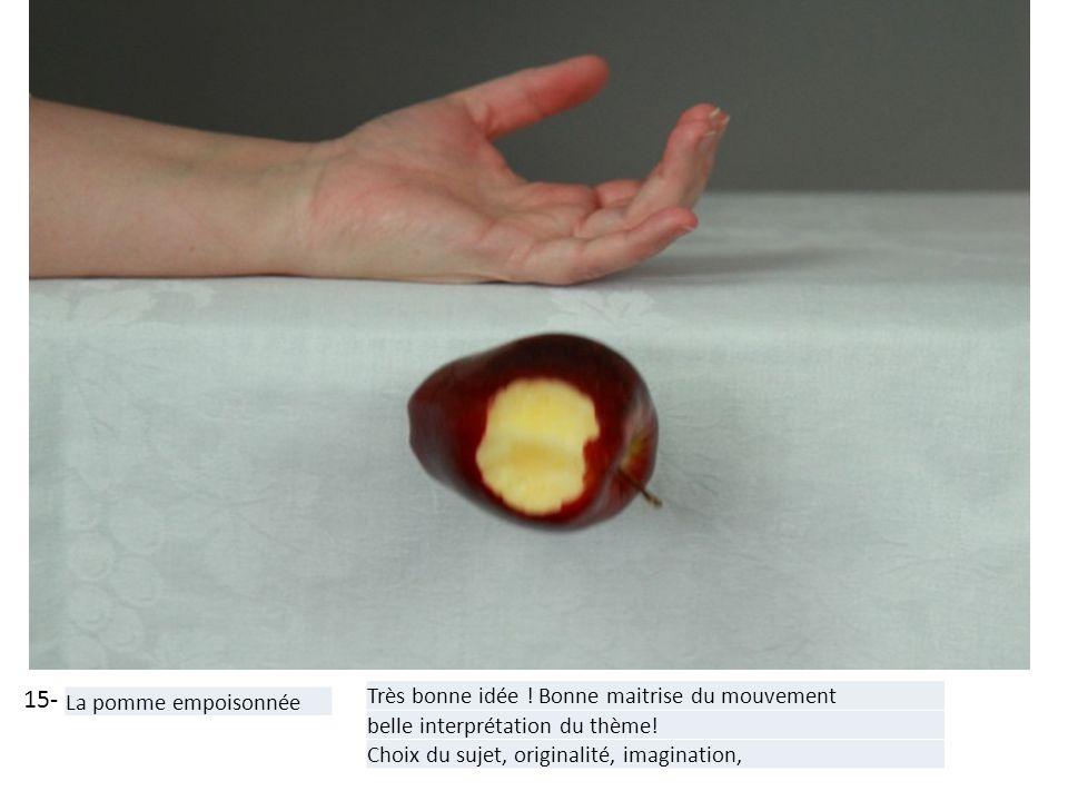 15- La pomme empoisonnée Très bonne idée ! Bonne maitrise du mouvement