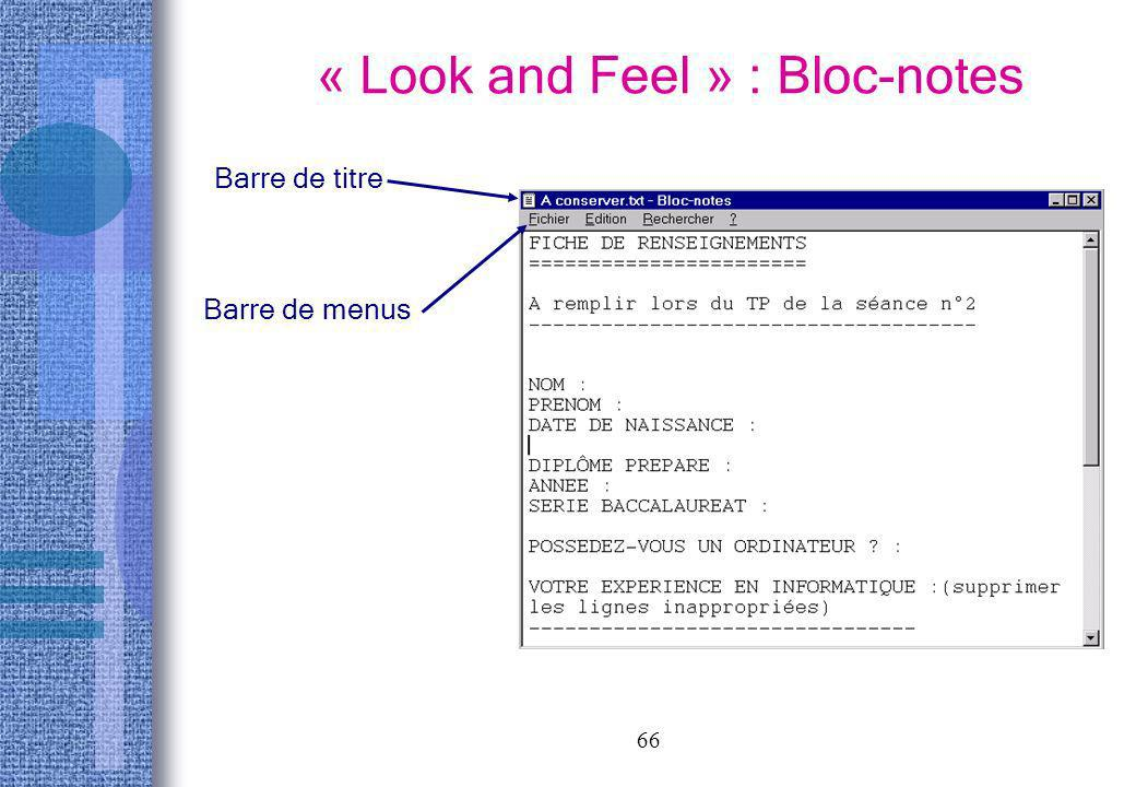 « Look and Feel » : Bloc-notes