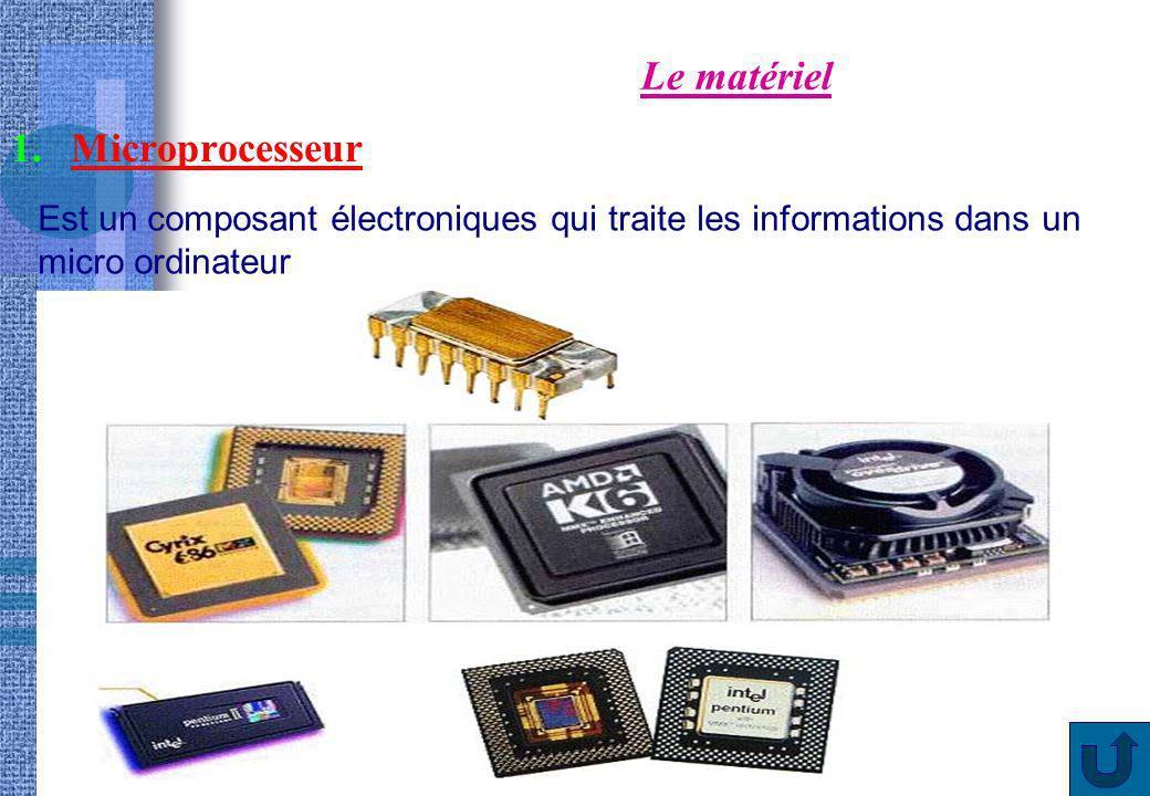 Le matériel Microprocesseur