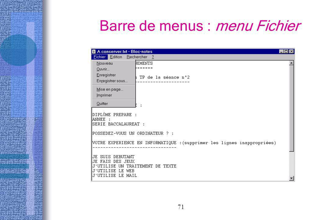Barre de menus : menu Fichier