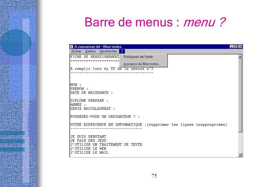 Barre de menus : menu