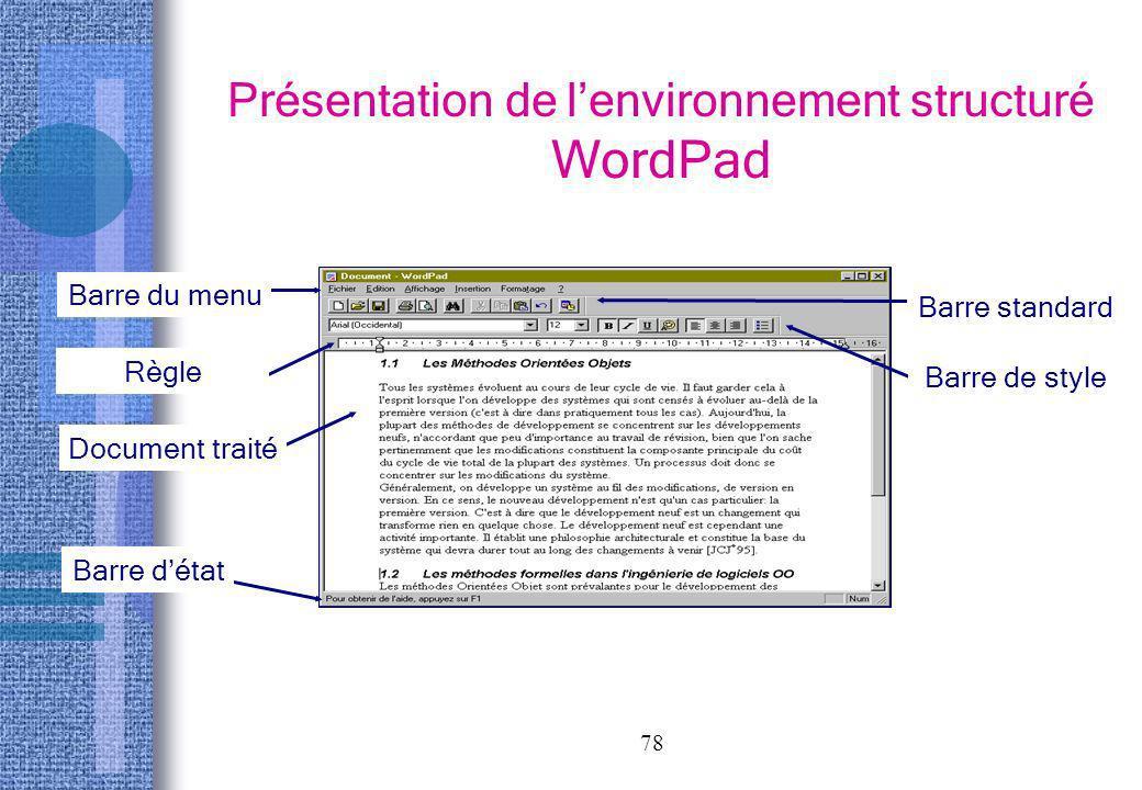 Présentation de l'environnement structuré WordPad