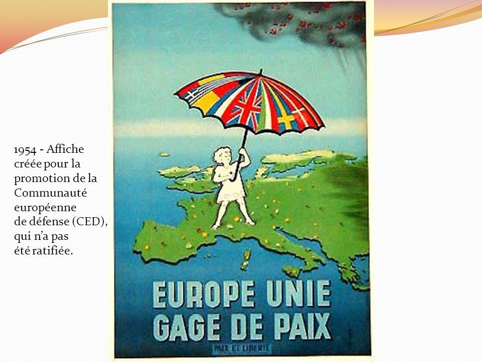 1954 - Affiche créée pour la. promotion de la. Communauté. européenne. de défense (CED), qui n'a pas.