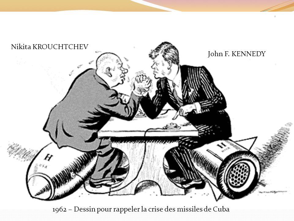 Nikita KROUCHTCHEV John F. KENNEDY 1962 – Dessin pour rappeler la crise des missiles de Cuba