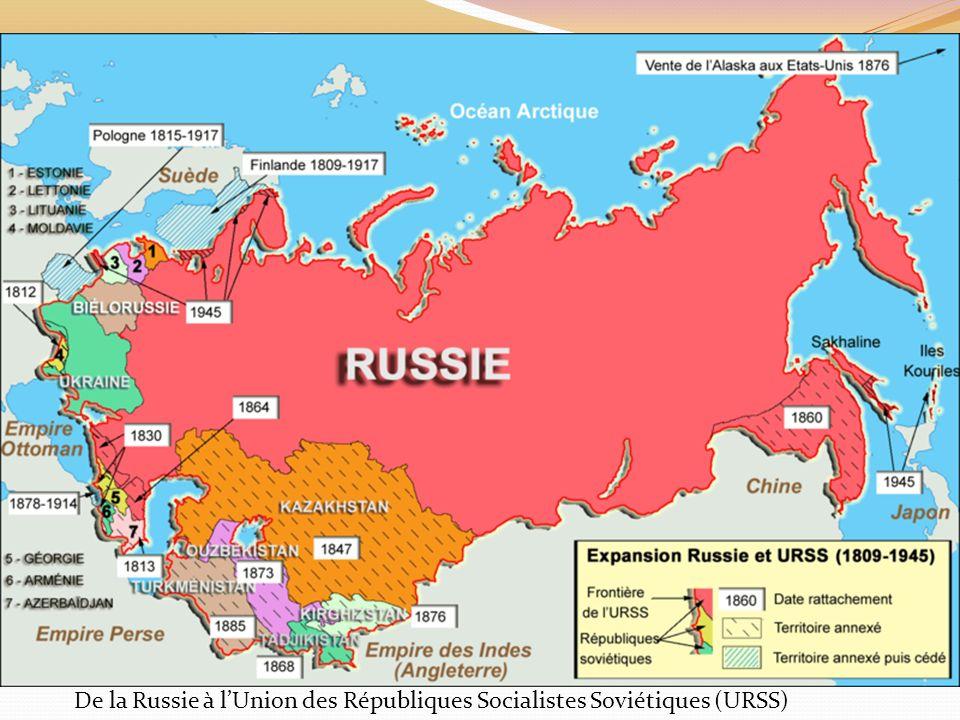 De la Russie à l'Union des Républiques Socialistes Soviétiques (URSS)