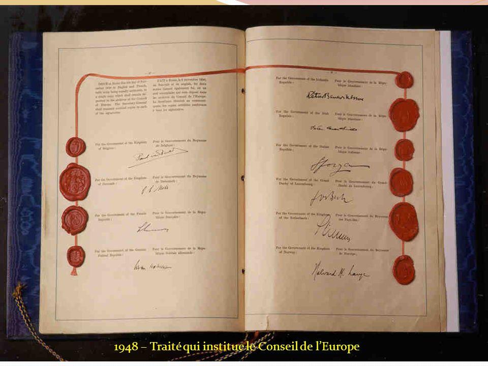 1948 – Traité qui institue le Conseil de l'Europe