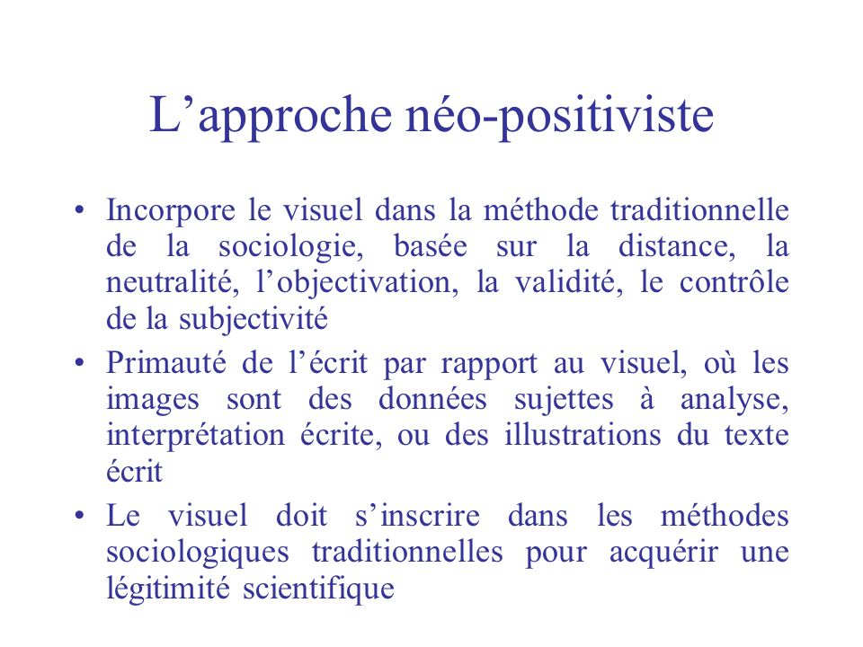 L'approche néo-positiviste