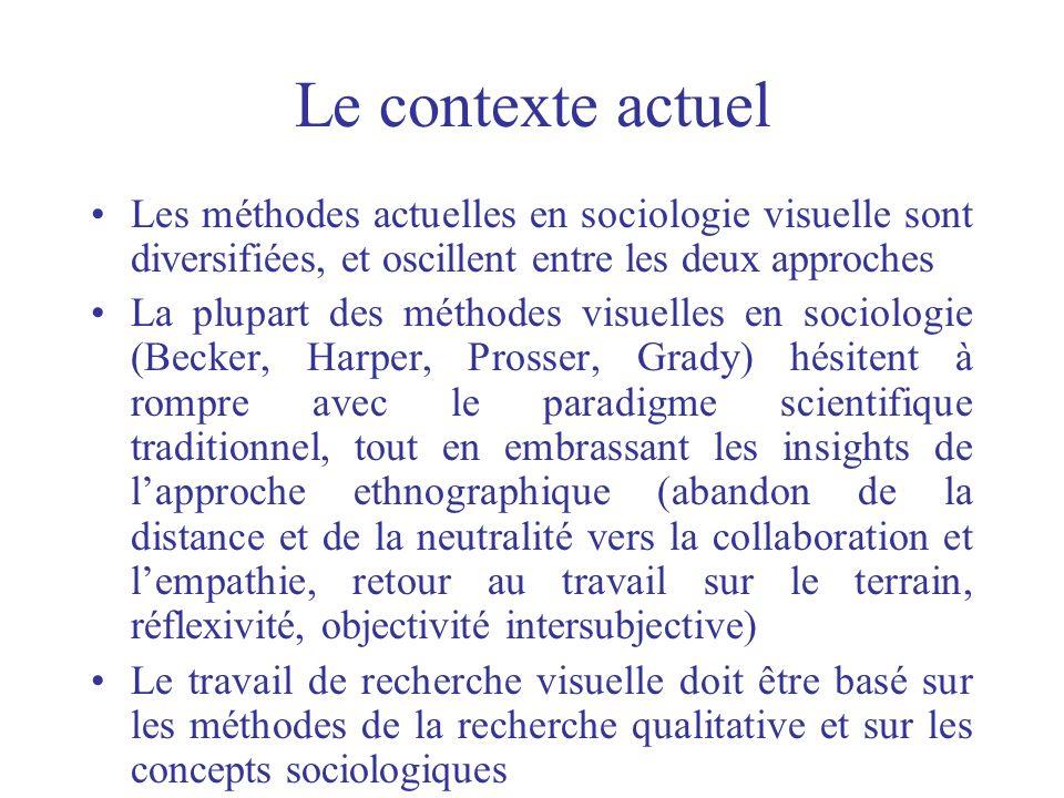 Le contexte actuel Les méthodes actuelles en sociologie visuelle sont diversifiées, et oscillent entre les deux approches.