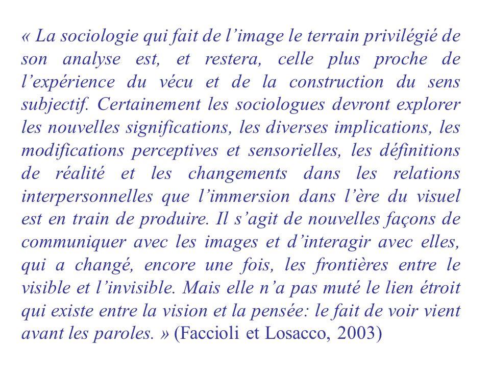 « La sociologie qui fait de l'image le terrain privilégié de son analyse est, et restera, celle plus proche de l'expérience du vécu et de la construction du sens subjectif.