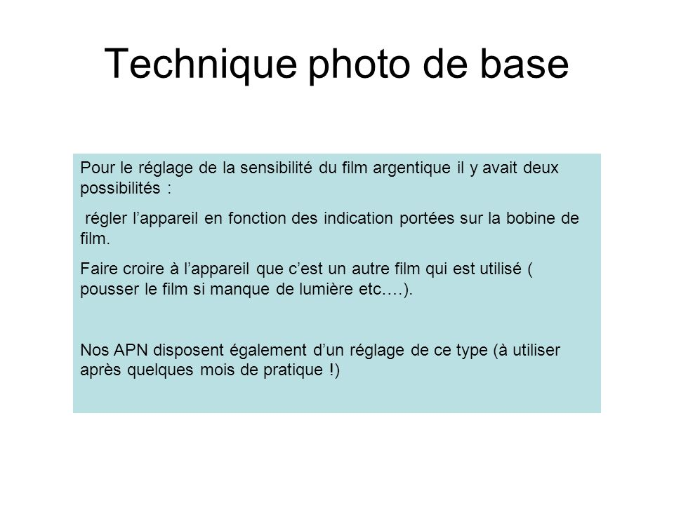 Technique photo de base