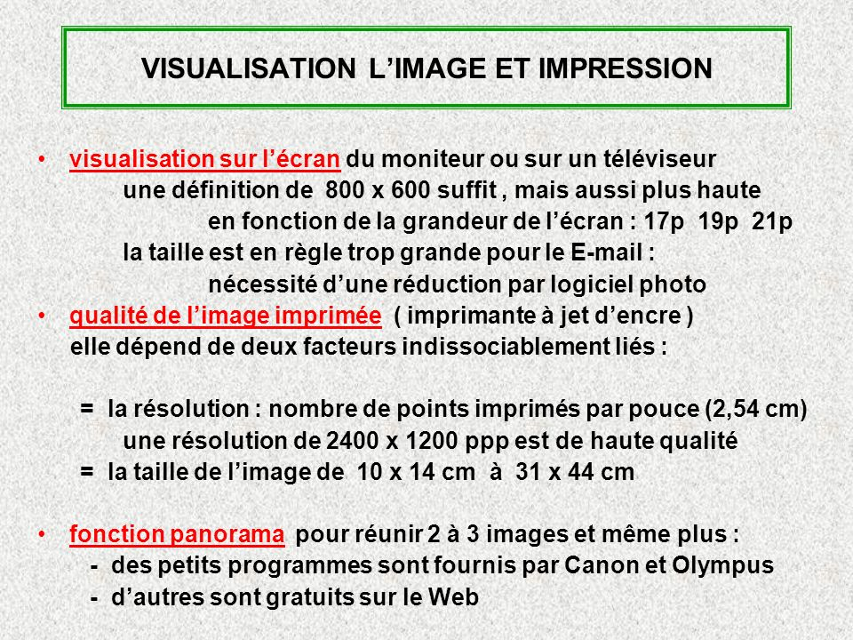 VISUALISATION L'IMAGE ET IMPRESSION
