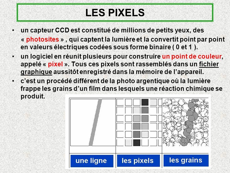 LES PIXELS un capteur CCD est constitué de millions de petits yeux, des.