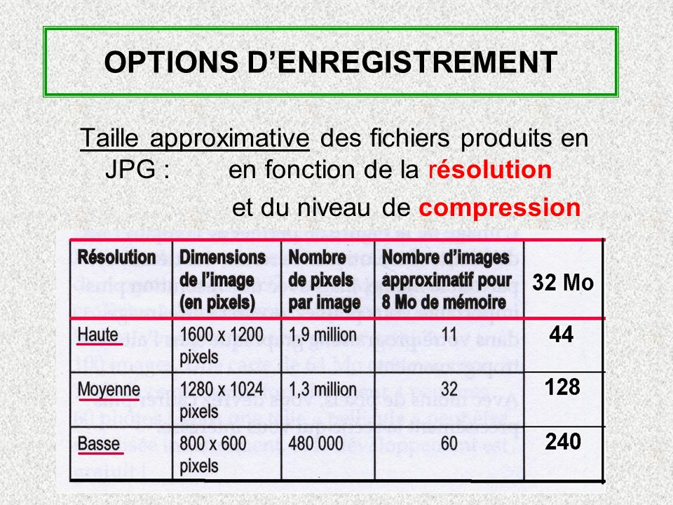 OPTIONS D'ENREGISTREMENT