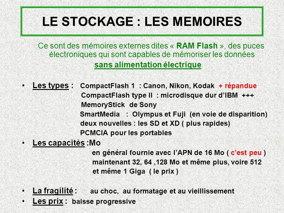 LE STOCKAGE : LES MEMOIRES