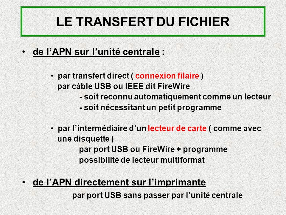 LE TRANSFERT DU FICHIER