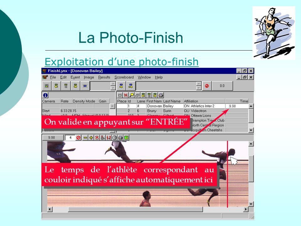 La Photo-Finish Exploitation d'une photo-finish