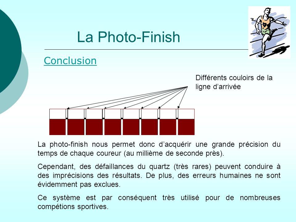 La Photo-Finish Conclusion Différents couloirs de la ligne d'arrivée