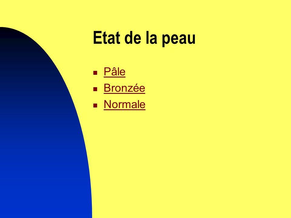 Etat de la peau Pâle Bronzée Normale