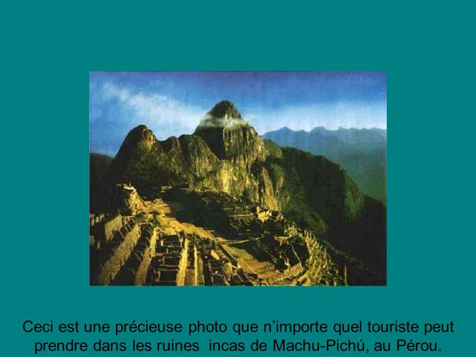 Ceci est une précieuse photo que n'importe quel touriste peut prendre dans les ruines incas de Machu-Pichú, au Pérou.