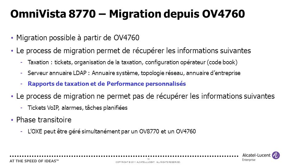 OmniVista 8770 – Migration depuis OV4760