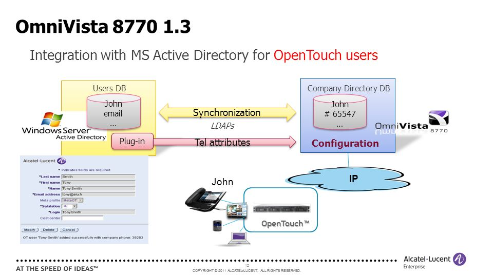 OmniVista 8770 1.3 Integration with MS Active Directory for OpenTouch users. Users DB. Company Directory DB.