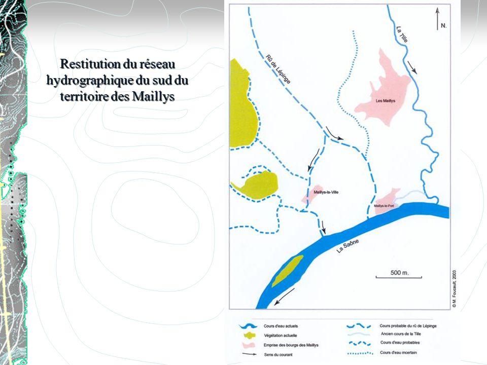 Restitution du réseau hydrographique du sud du territoire des Maillys