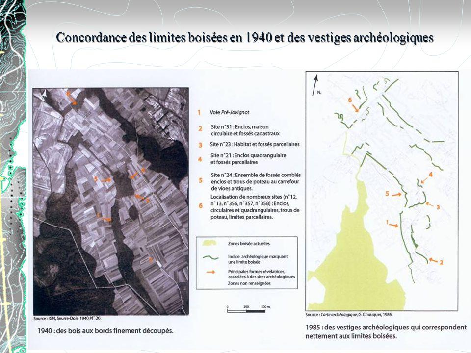 Concordance des limites boisées en 1940 et des vestiges archéologiques