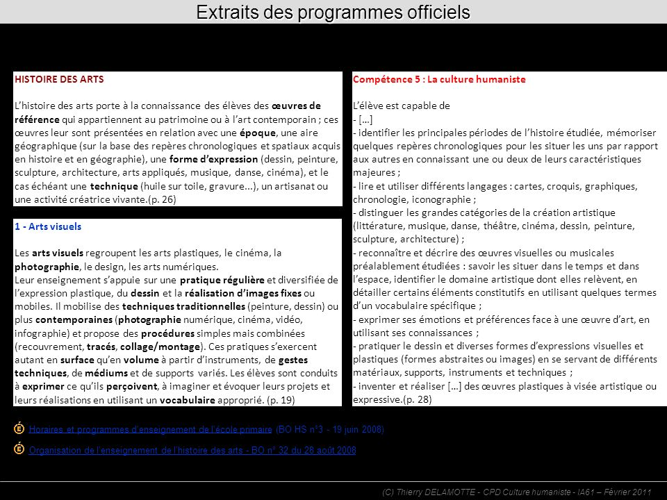 Extraits des programmes officiels