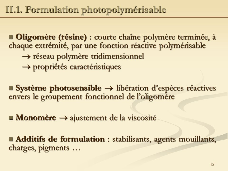 II.1. Formulation photopolymérisable