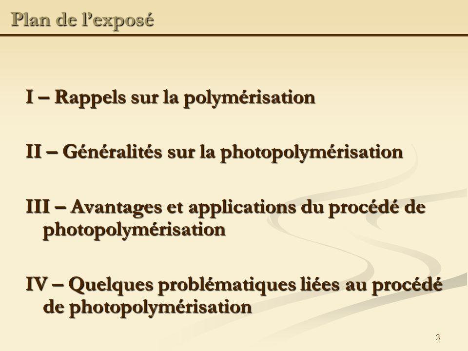 Plan de l'exposé I – Rappels sur la polymérisation. II – Généralités sur la photopolymérisation.