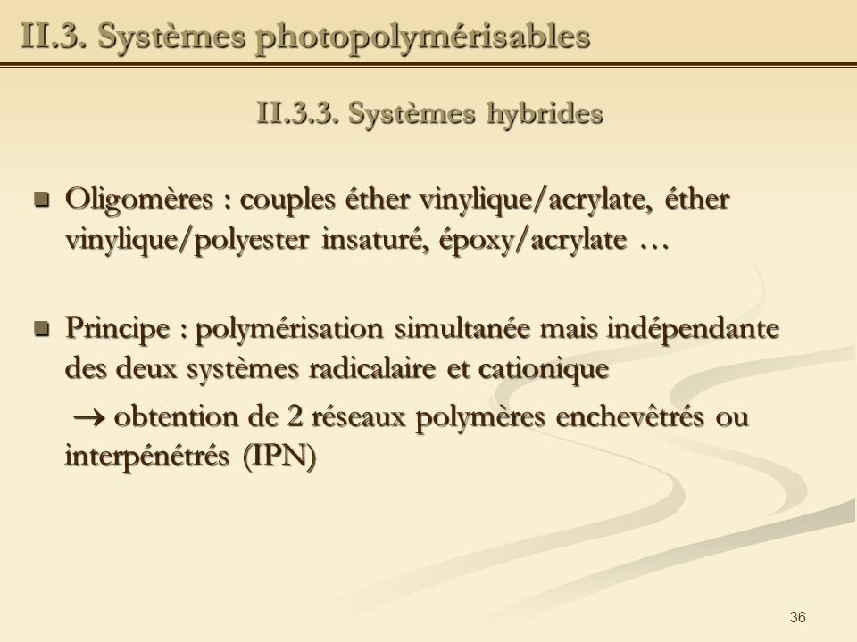 II.3. Systèmes photopolymérisables