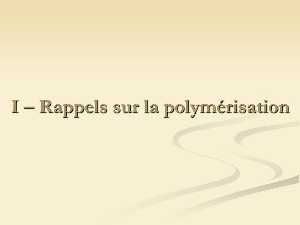 I – Rappels sur la polymérisation
