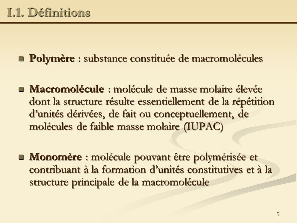 I.1. Définitions Polymère : substance constituée de macromolécules