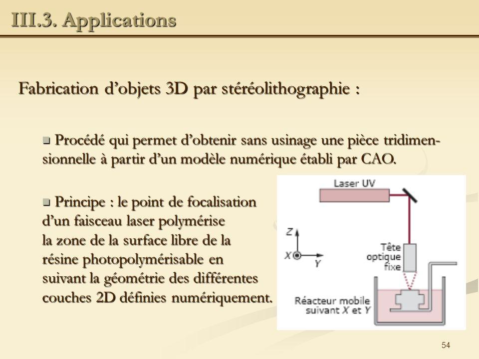 III.3. Applications Fabrication d'objets 3D par stéréolithographie :