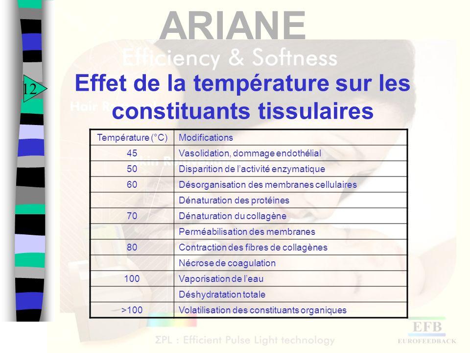 Effet de la température sur les constituants tissulaires