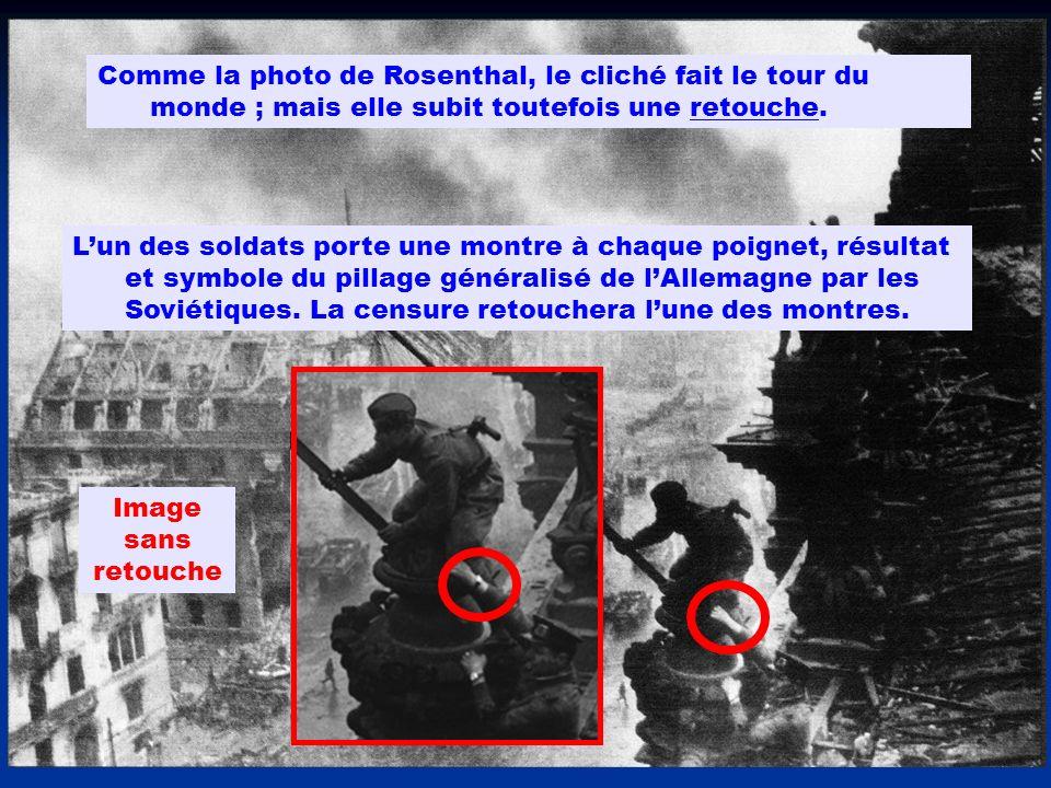 Comme la photo de Rosenthal, le cliché fait le tour du monde ; mais elle subit toutefois une retouche.