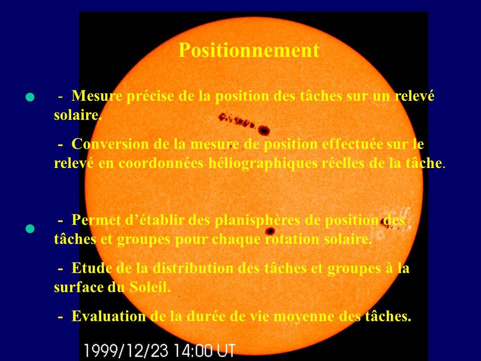 Positionnement • - Mesure précise de la position des tâches sur un relevé solaire.