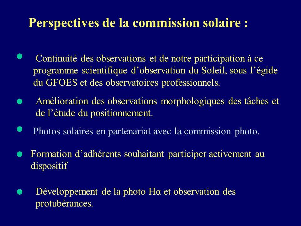 • • • • • Perspectives de la commission solaire :