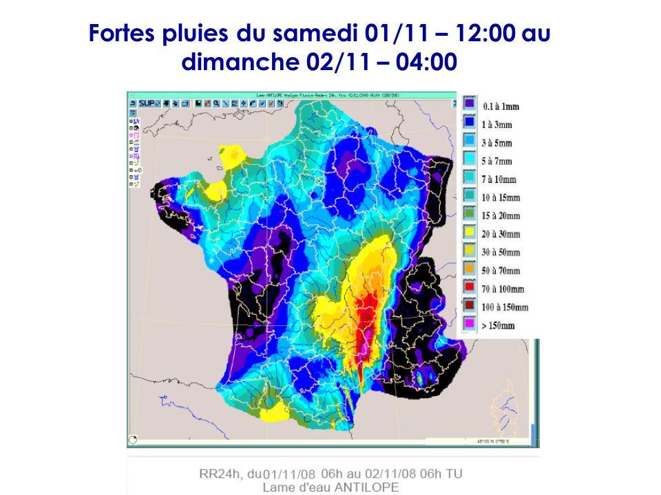 Fortes pluies du samedi 01/11 – 12:00 au dimanche 02/11 – 04:00