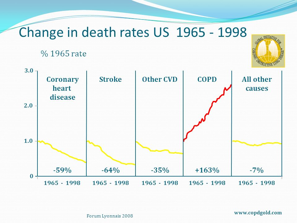 Change in death rates US 1965 - 1998