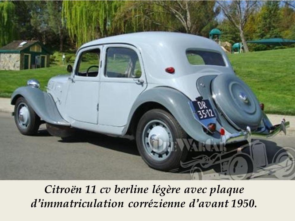 Citroën 11 cv berline légère avec plaque d'immatriculation corrézienne d'avant 1950.