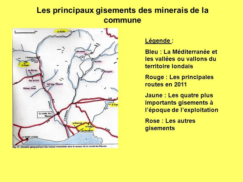 Les principaux gisements des minerais de la commune