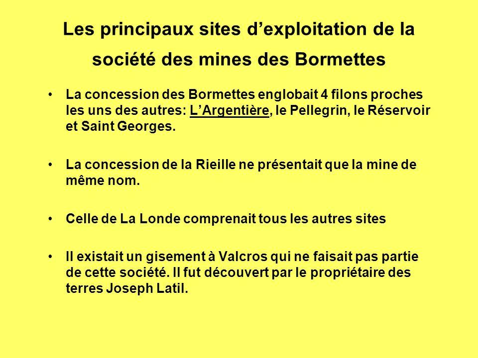 Les principaux sites d'exploitation de la société des mines des Bormettes