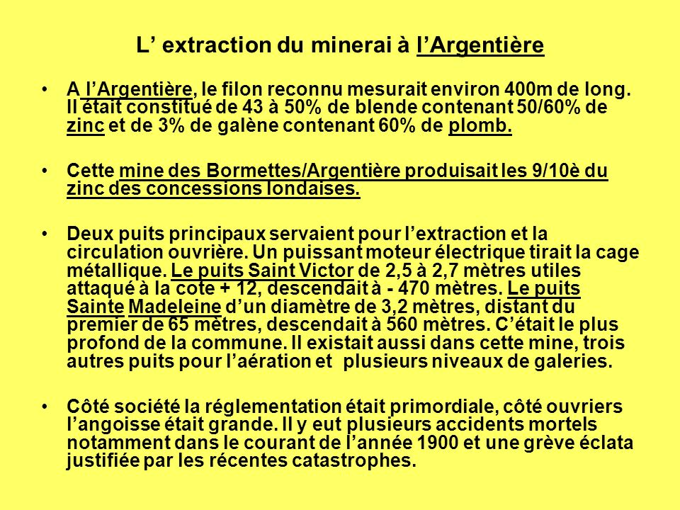 L' extraction du minerai à l'Argentière