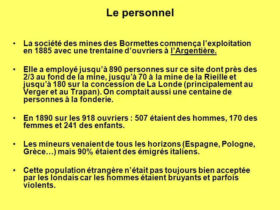 Le personnel La société des mines des Bormettes commença l'exploitation en 1885 avec une trentaine d'ouvriers à l'Argentière.