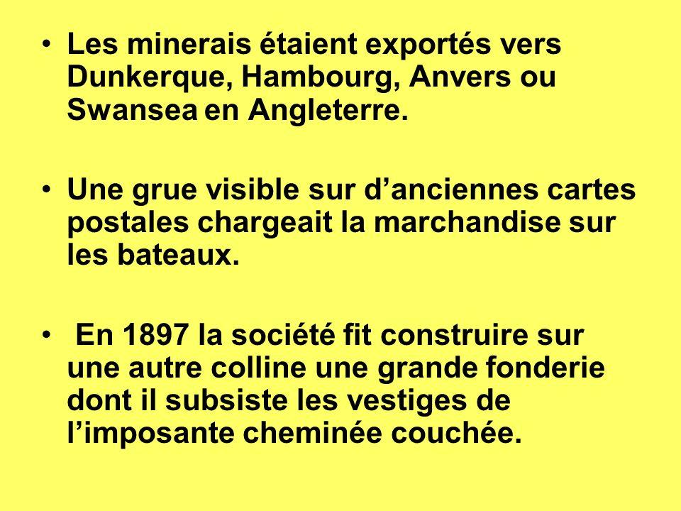 Les minerais étaient exportés vers Dunkerque, Hambourg, Anvers ou Swansea en Angleterre.