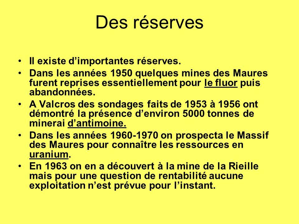 Des réserves Il existe d'importantes réserves.