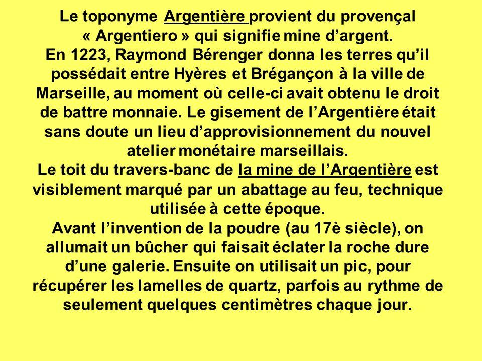 Le toponyme Argentière provient du provençal « Argentiero » qui signifie mine d'argent.