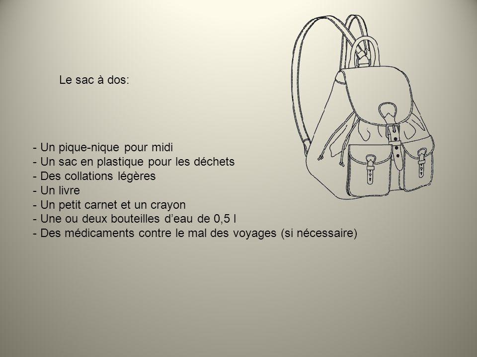 Le sac à dos: Un pique-nique pour midi. Un sac en plastique pour les déchets. Des collations légères.