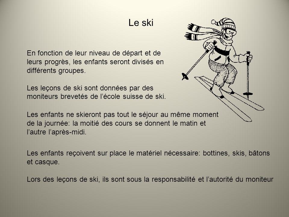 Le ski En fonction de leur niveau de départ et de leurs progrès, les enfants seront divisés en différents groupes.